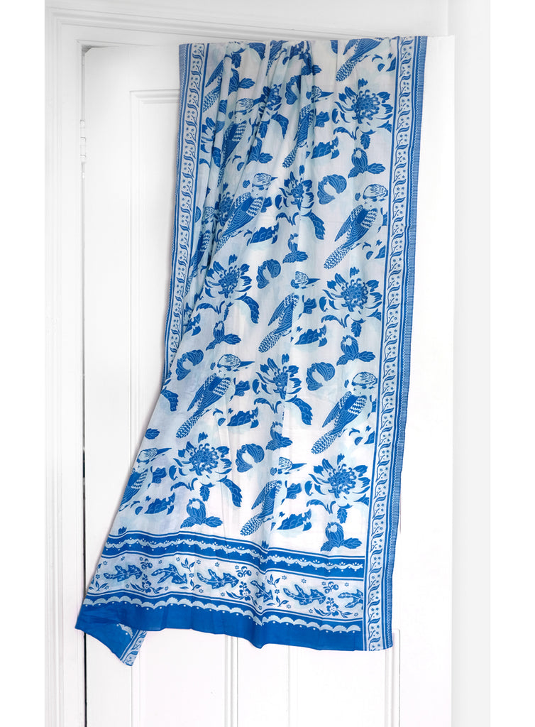 Kookaburra Blue Pure Organic Cotton Sarong