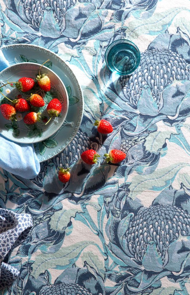 State of Waratah (Blue) Heavyweight Linen/Cotton Tablecloth