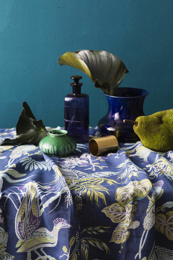 Pure Linen Tablecloths, Paradise - Ultramarine