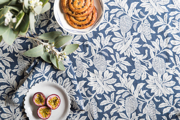 Pure Linen Tablecloths, Banksia Denim Blue