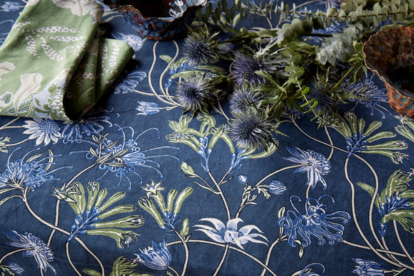 Native Meadow Blue Linen/Cotton Tablecloths