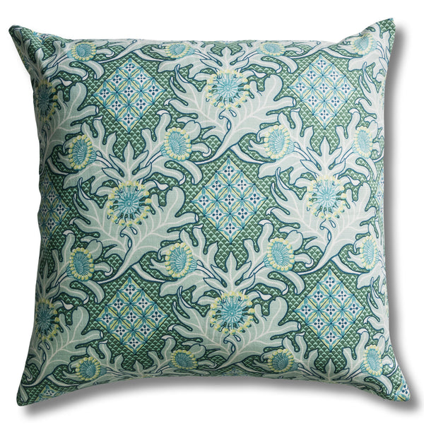 60 x 60 Firewheel Trellis Ocean Heavyweight Linen Cushion Cover