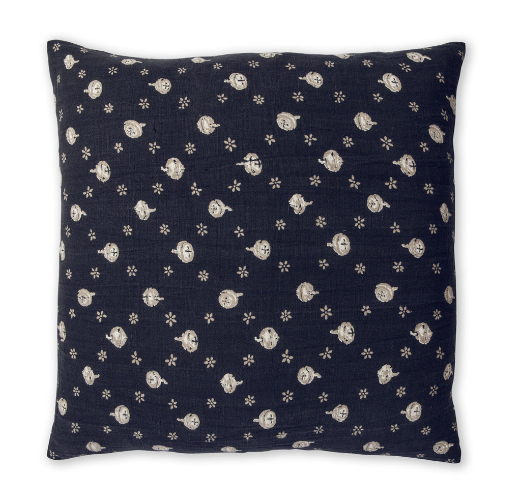 100% Linen Cushion Cover, Polka Nut - Indigo, 60 x 60cm