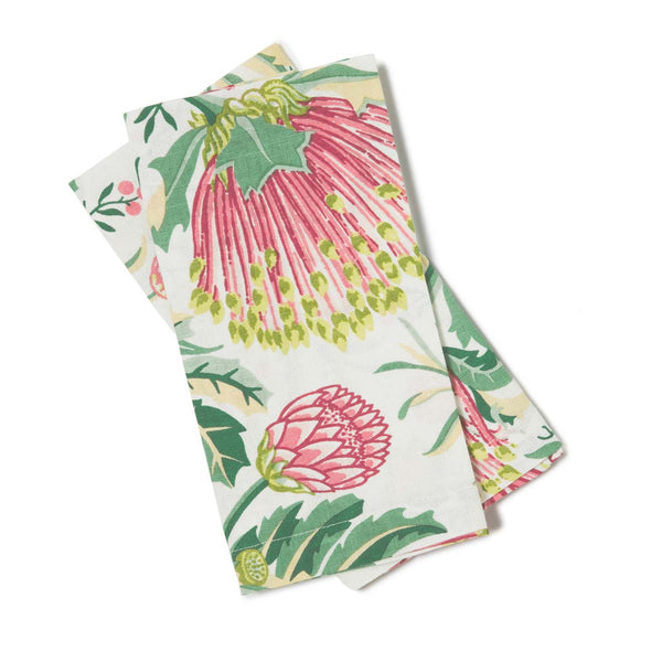 Matchstick Banksia Pink Light Weight Napkins Set of 2