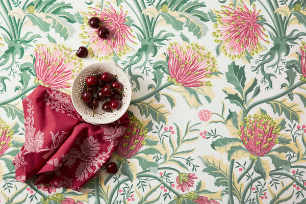 Matchstick Banksia Pink Light Weight Tablecloth