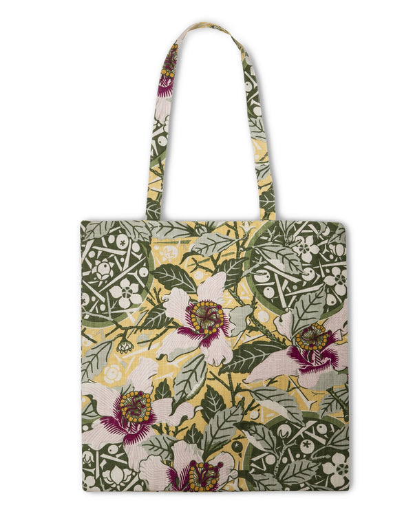 Native Hibiscus Garden Heavyweight Linen Tote Bag