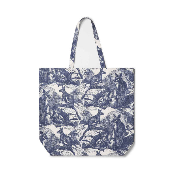 Wallaby Navy Blue Tote Bag