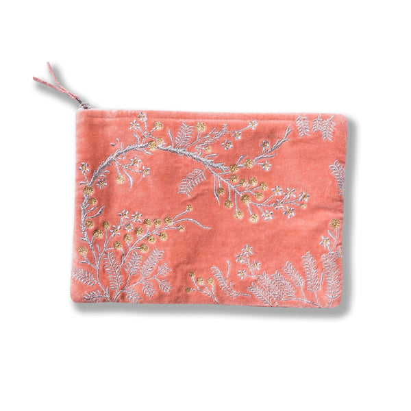 Black Wattle Pink Embroidered Velvet Pouch