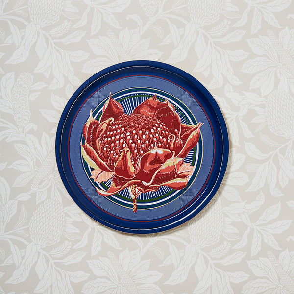 Waratah Blue Round Drinks Cake Gift Hostess Tray
