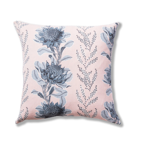 Imperial Waratah Pink Linen/Cotton 50 x 50 Cushion Cover