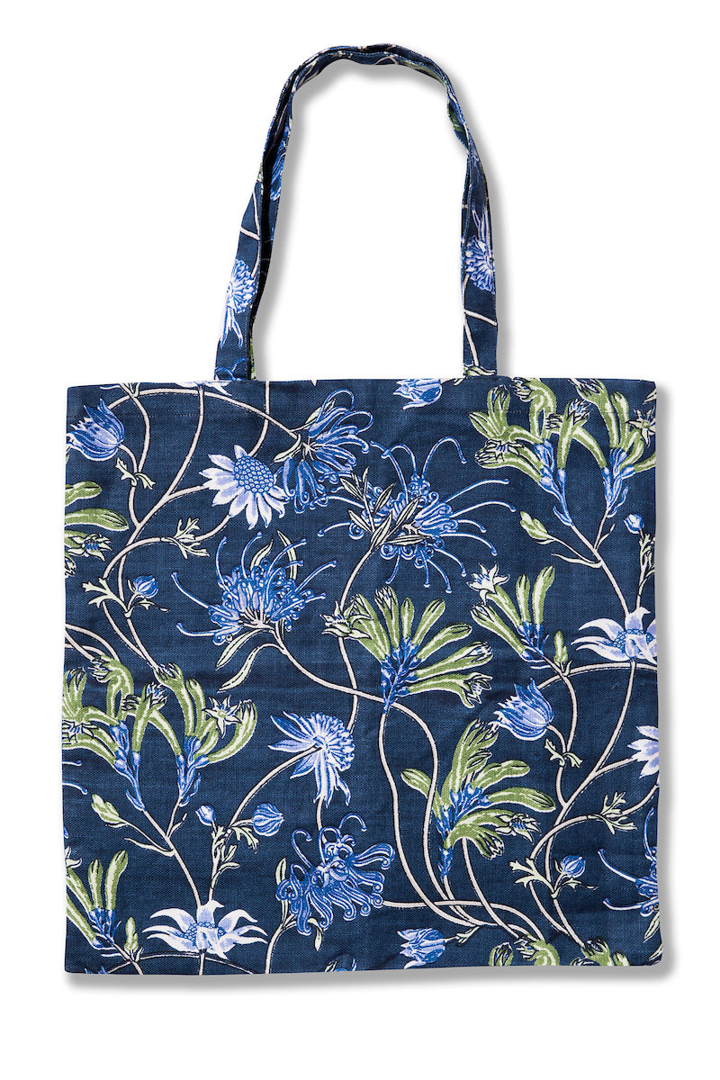 Native Meadow Blue Heavyweight Linen Tote Bag