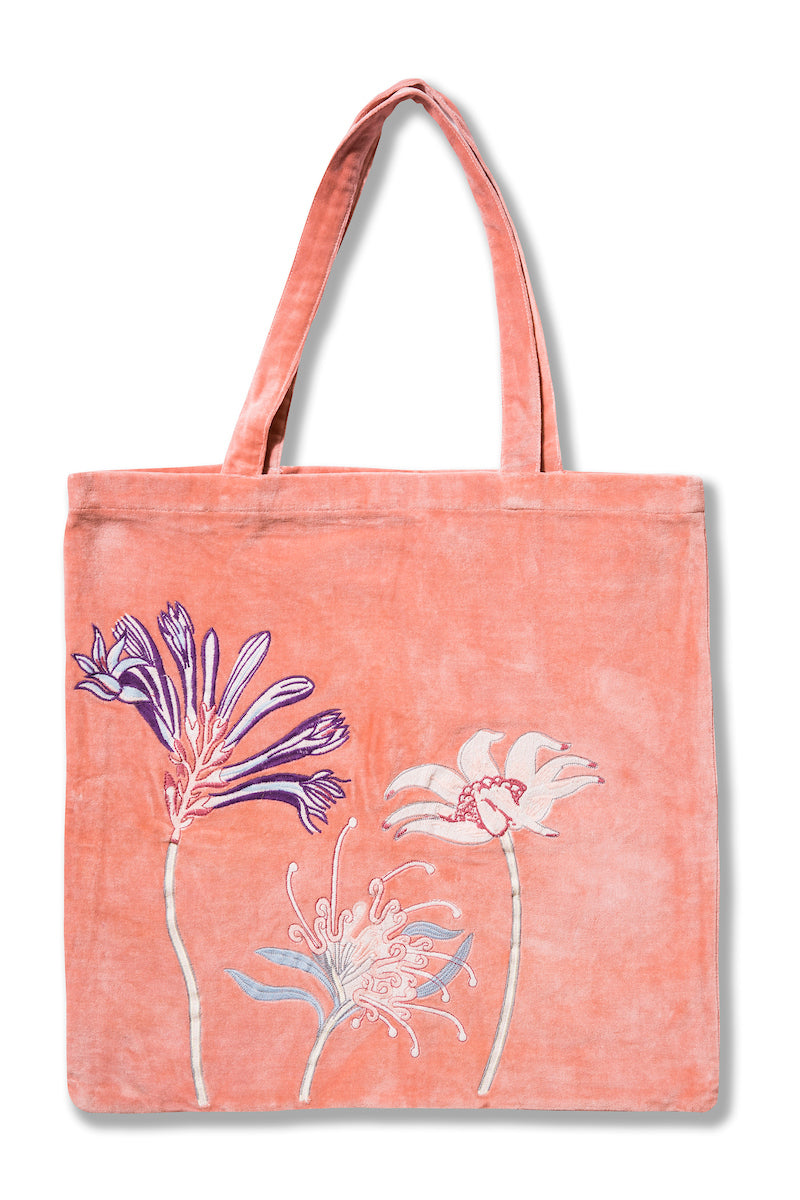 Native Meadow Pink Embroidered Velvet Tote Bag