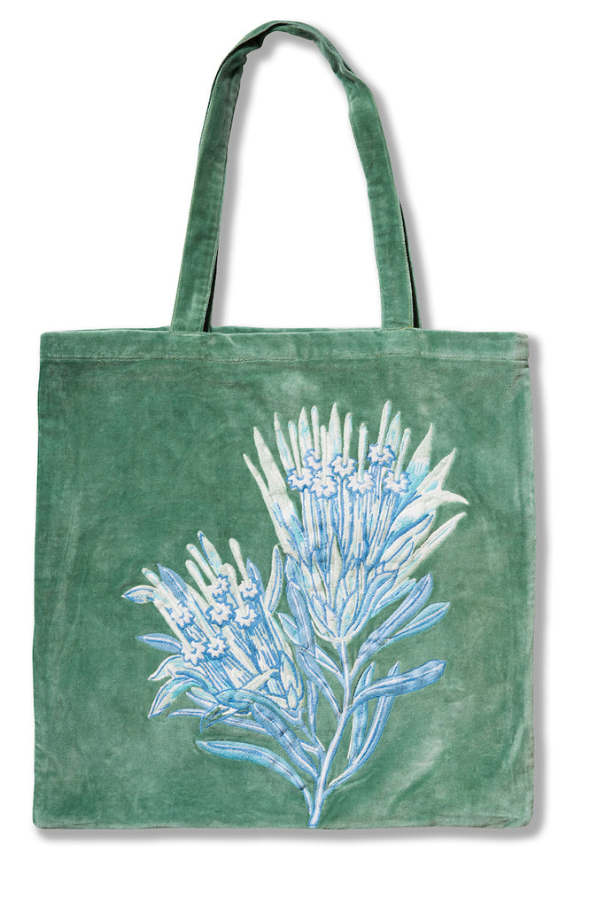 Mountain Devil Green Embroidered Velvet Tote Bag