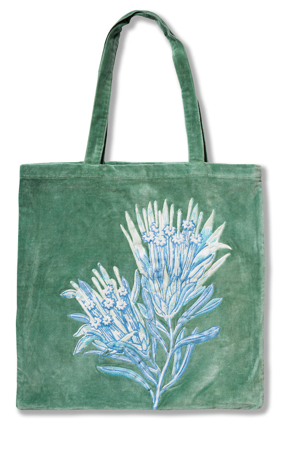 Mountain Devil Green Velvet Tote Bag