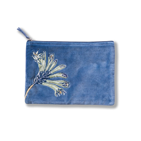Native Meadow Blue Embroidered Velvet Pouch