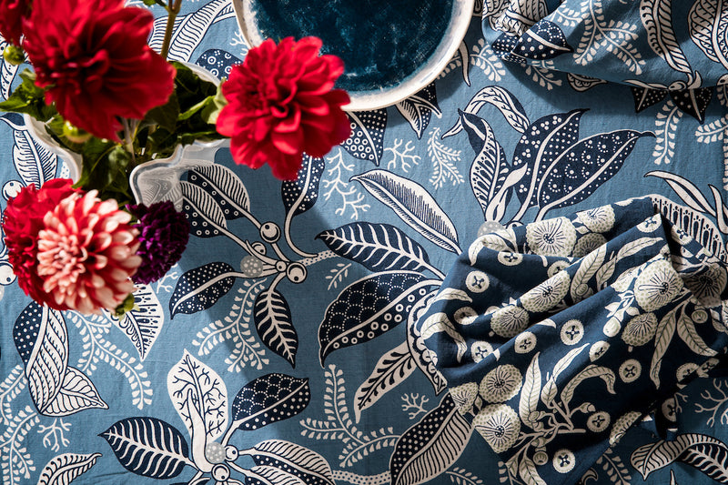 Fig Blue Cotton/Linen Blend Tablecloths