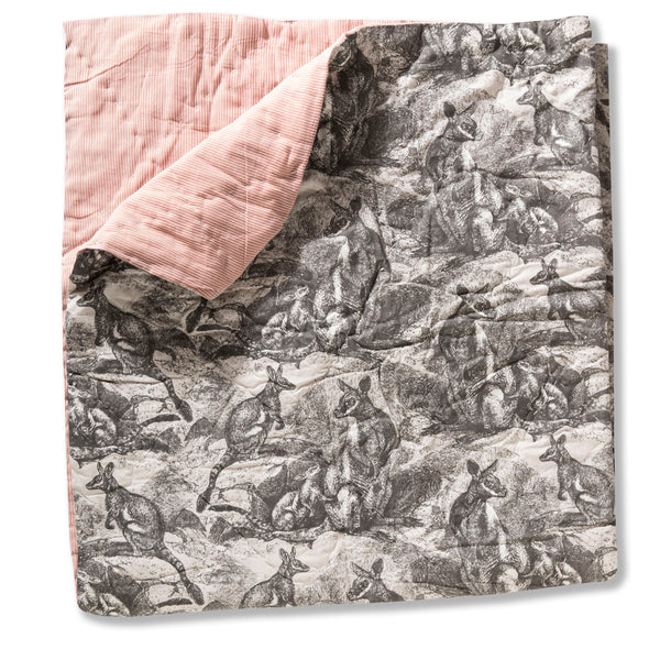 Wallaby Grey Cotton Poplin Baby Quilt