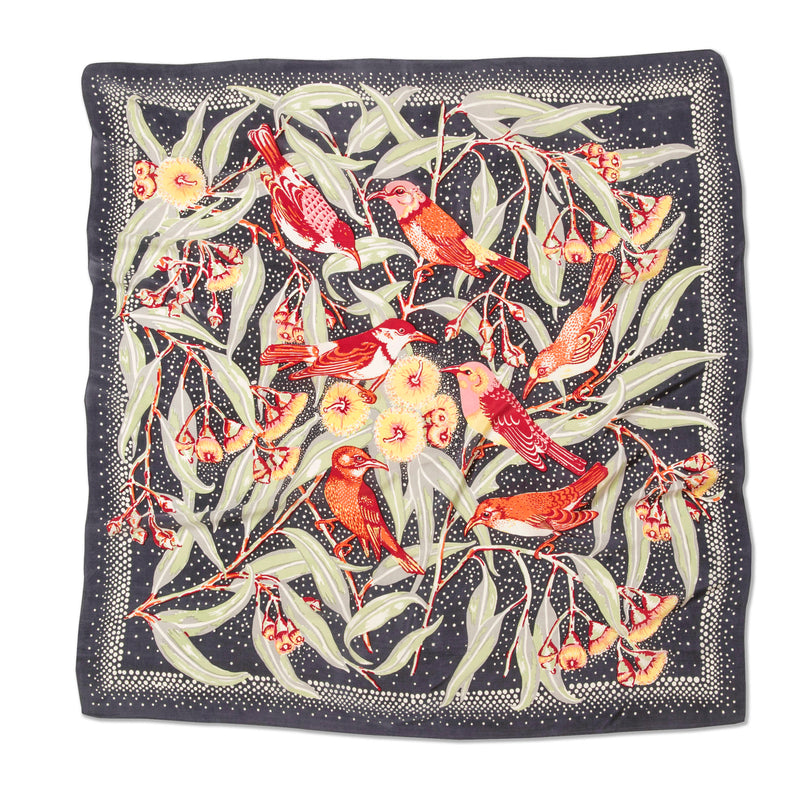 Flowering Gum Charcoal Silk Twill Scarf