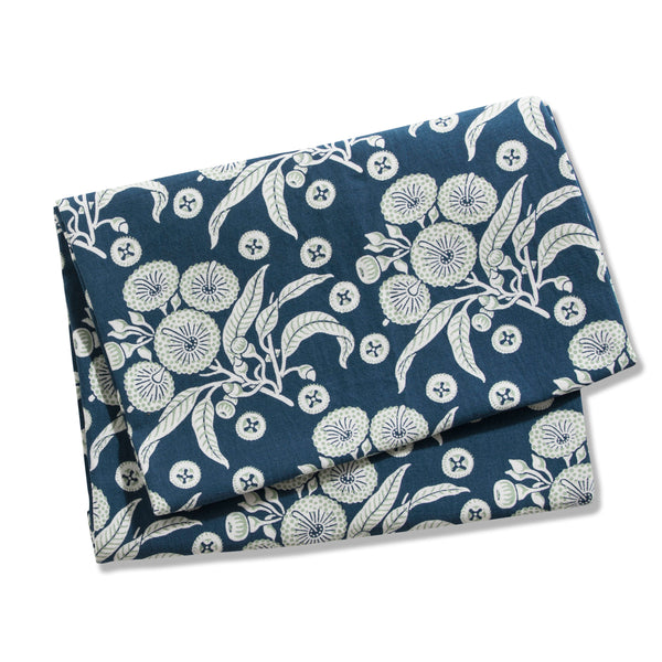 Native Posy Blue Linen/Cotton Table Runner