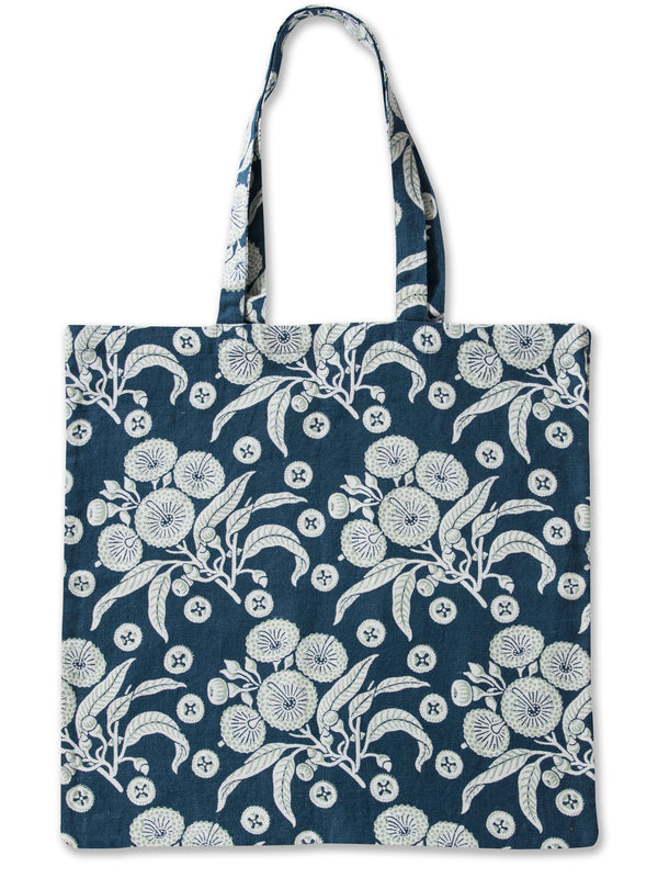 Native Posy Blue Pure Linen Tote Bag