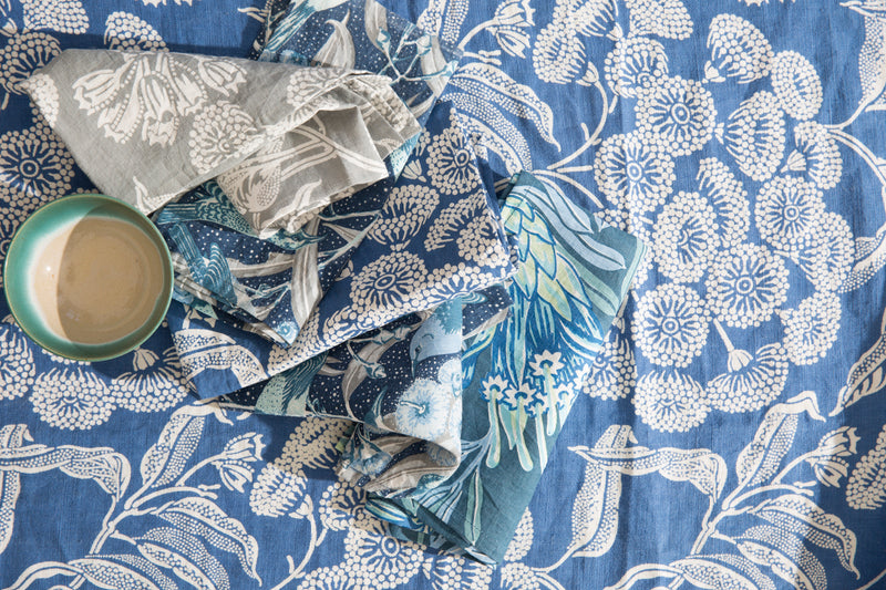 Pure Linen Tablecloths, Angophora Blue