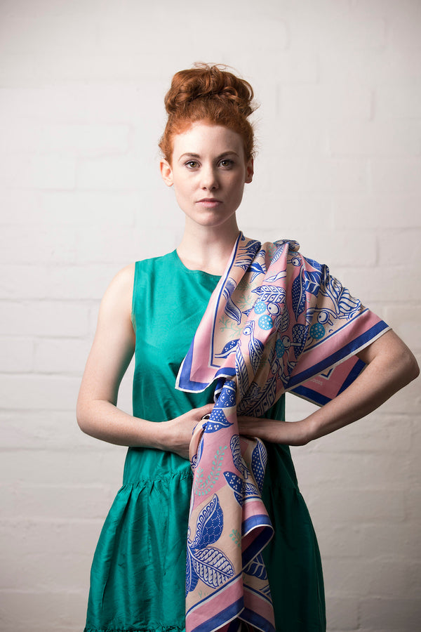 Fig Peach Silk Twill Scarf