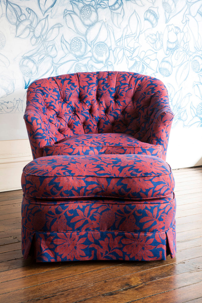 English Parlour Armchair and Ottoman, Banksia Red