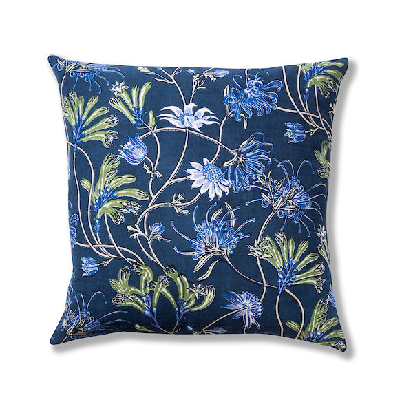 Native Meadow Blue Lightweight Linen/Cotton 50 x 50 Cushion Cover