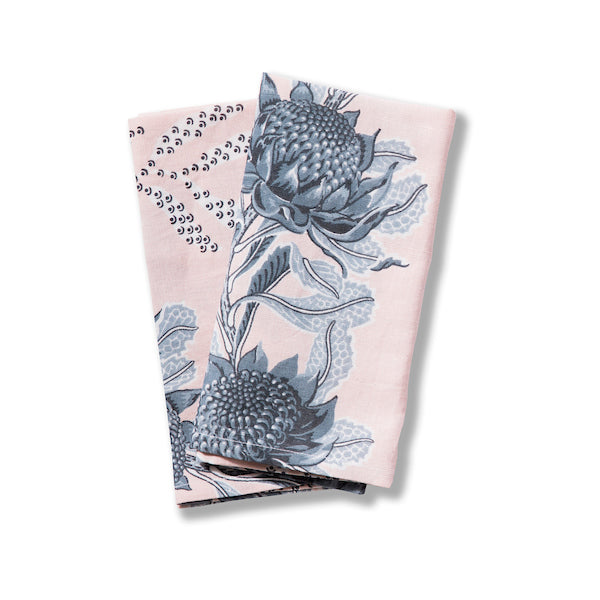 Imperial Waratah Pink Linen/Cotton Napkins, Set of 2