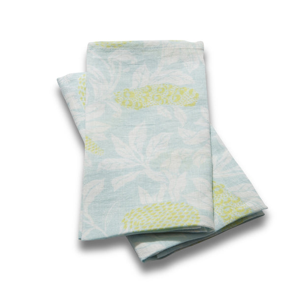 Set of 2 100% Linen Napkins, Banksia - Powder Blue