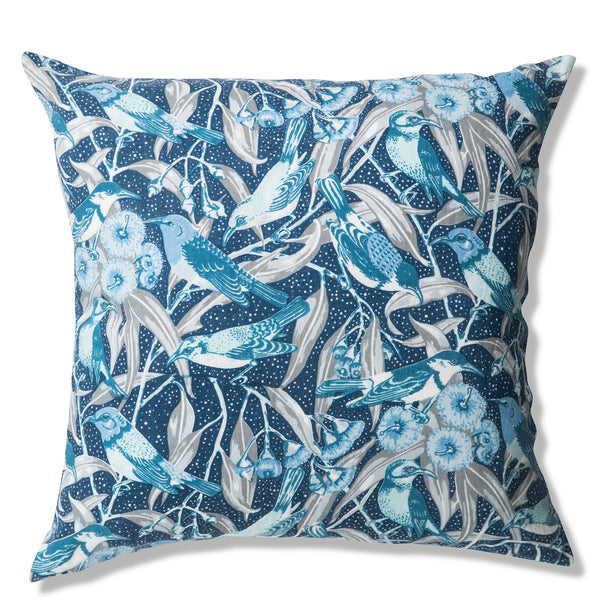 Flowering Gum Blue Pure Linen Cushion Cover 50x50