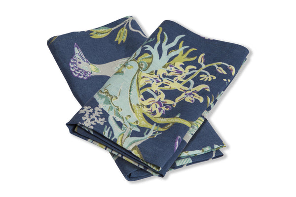 Set of 2 100% Linen Napkins, Paradise - Ultramarine