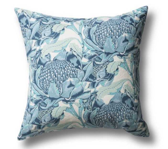 State of Waratah Blue, Heavyweight Linen Cotton Cushion Cover, 50x50cm
