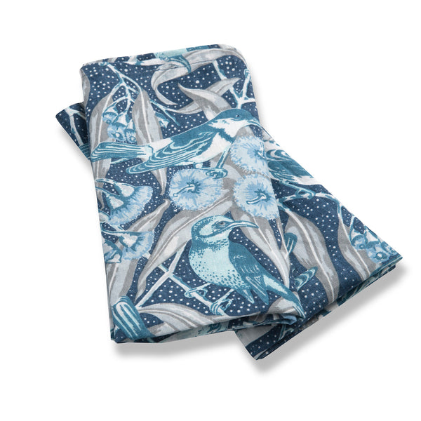 Flowering Gum Blue Pure Linen Set of Two Napkins