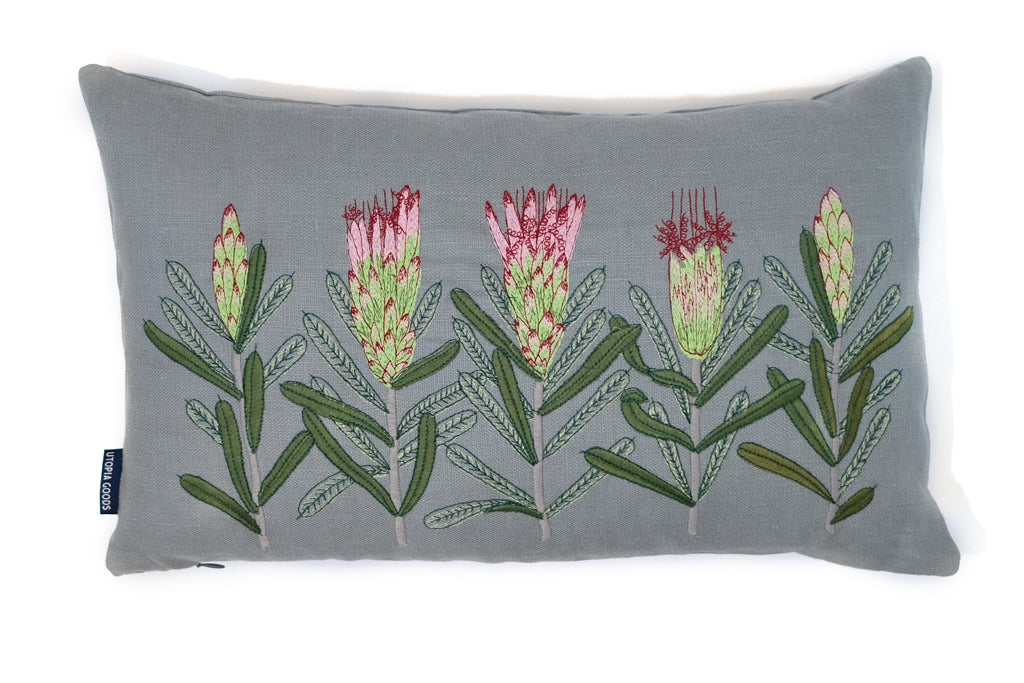 30 x 50 Embroidered Linen Cushion Cover, Mountain Devil Grey Embroidery