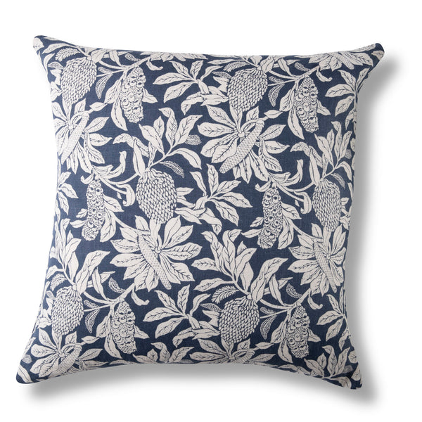 Linen Cushion Cover, Banksia Denim Blue - 60 x 60cm