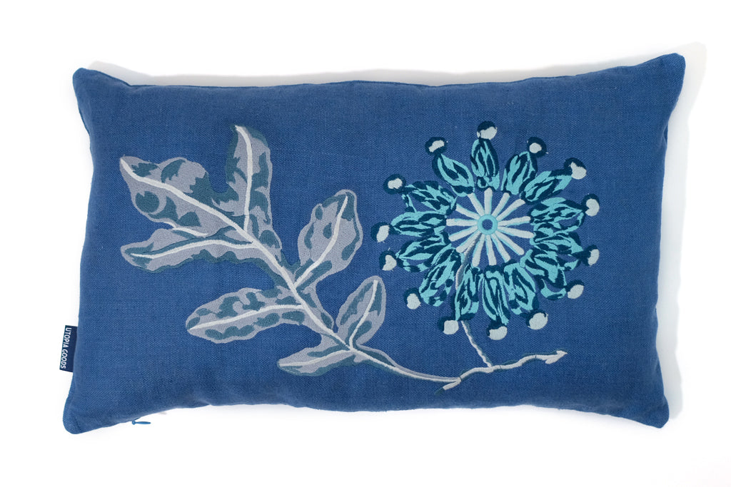 30 x 50 Embroidered Linen Cushion Cover, Firewheel Blue