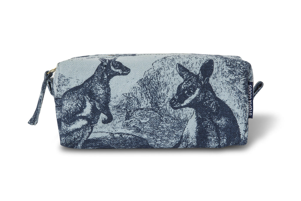 Linen/Cotton Make Up Pouch, Rock Wallaby - Indigo