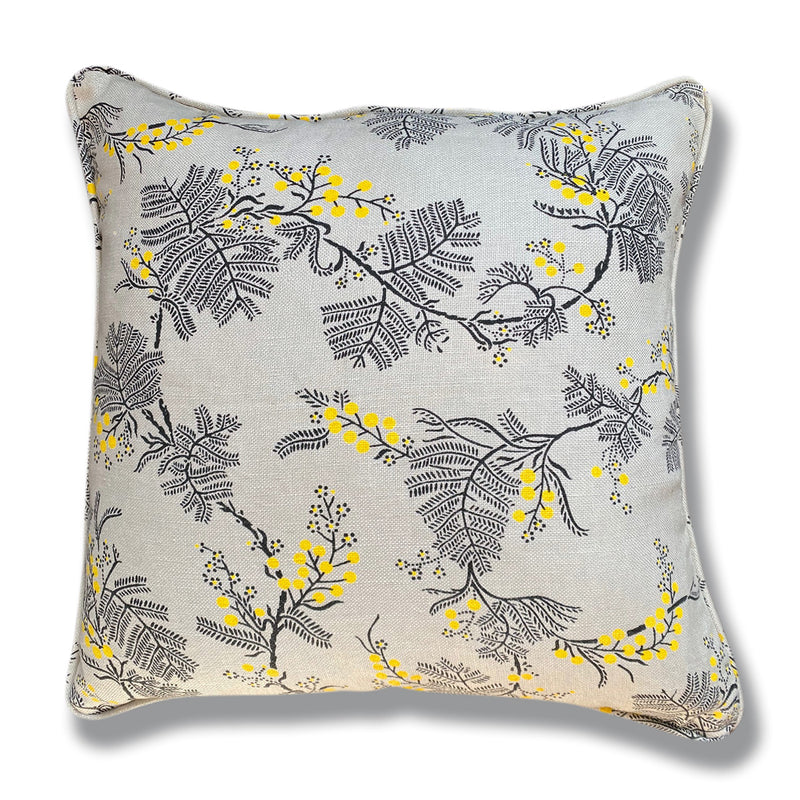 Black Wattle Grey Linen Cushion Cover -50 x 50