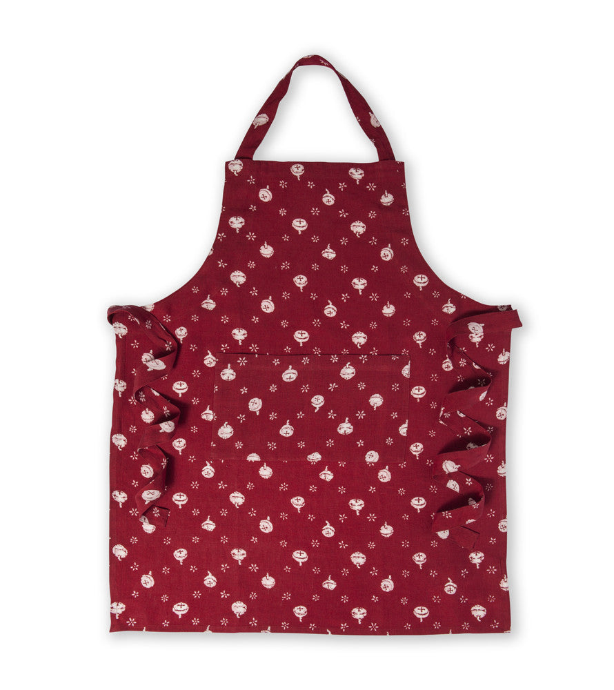 Pure Linen Apron, Polka Nut - Red