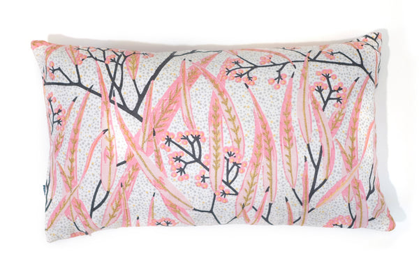 30 x 50 Embroidered Linen Cushion Cover, Eucalyptus Pink Gold