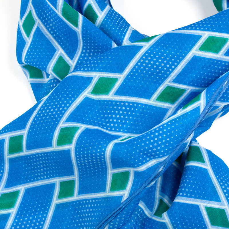 Rectangle Silk Cotton Scarf, Basket Case - Blue