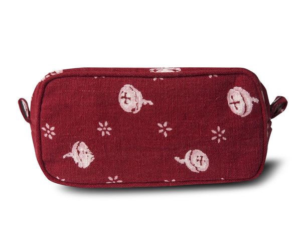 Linen Make Up Pouch, Polka Nut - Red
