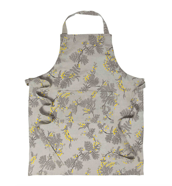 100% Linen Apron, Black Wattle - Grey
