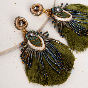 Plume Peacock Earrings / Olive