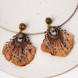 Plume Peacock Earrings / Caramel