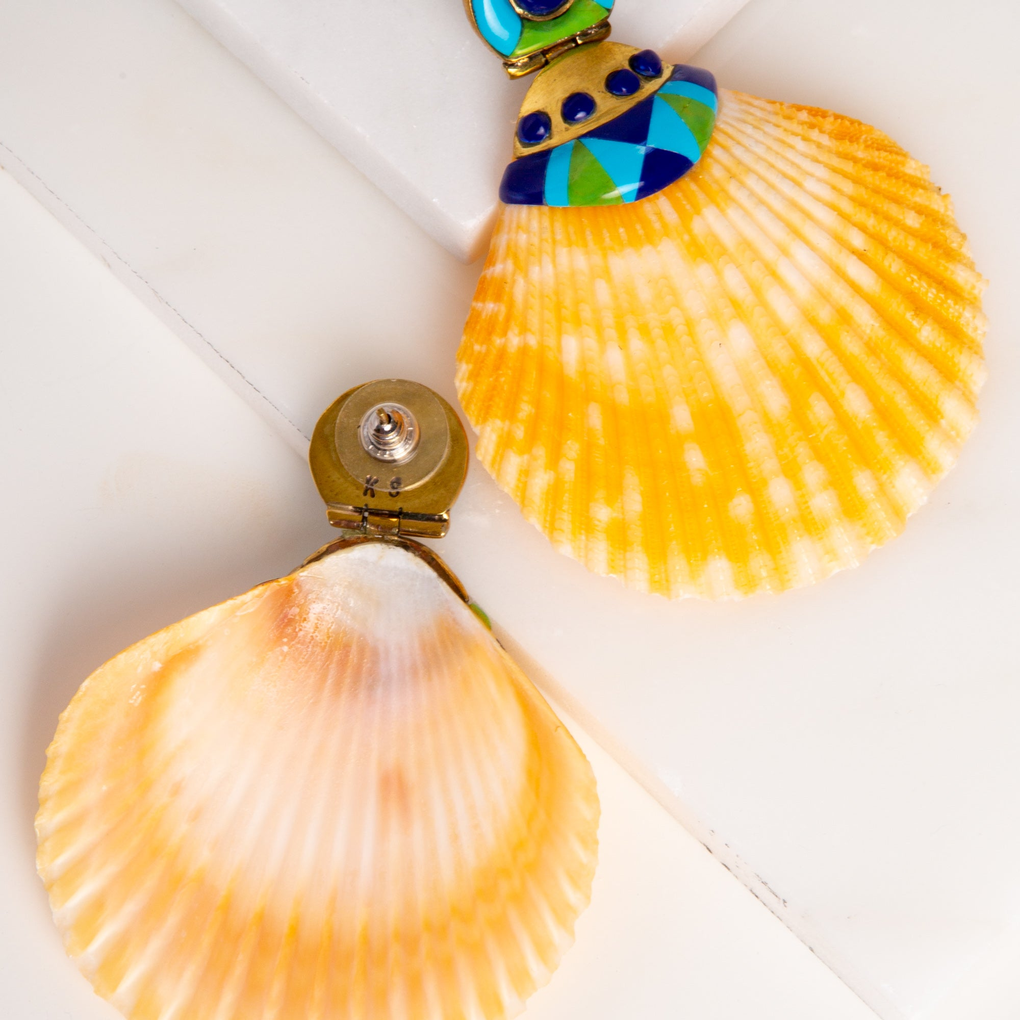 Natural Shell Earrings / Scallop