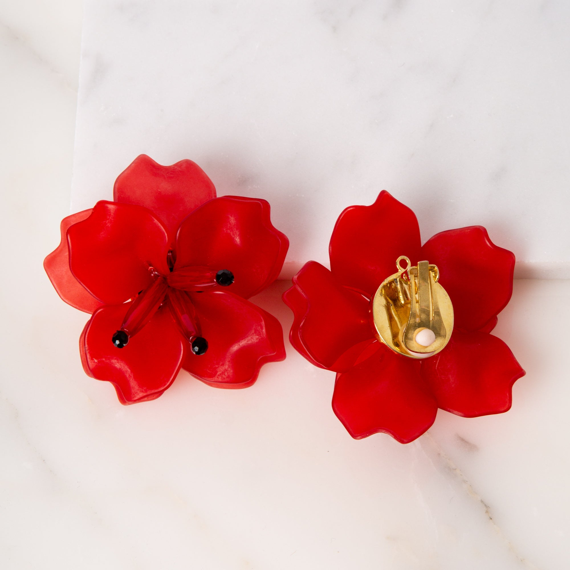 Fleur Earrings / Red Matte