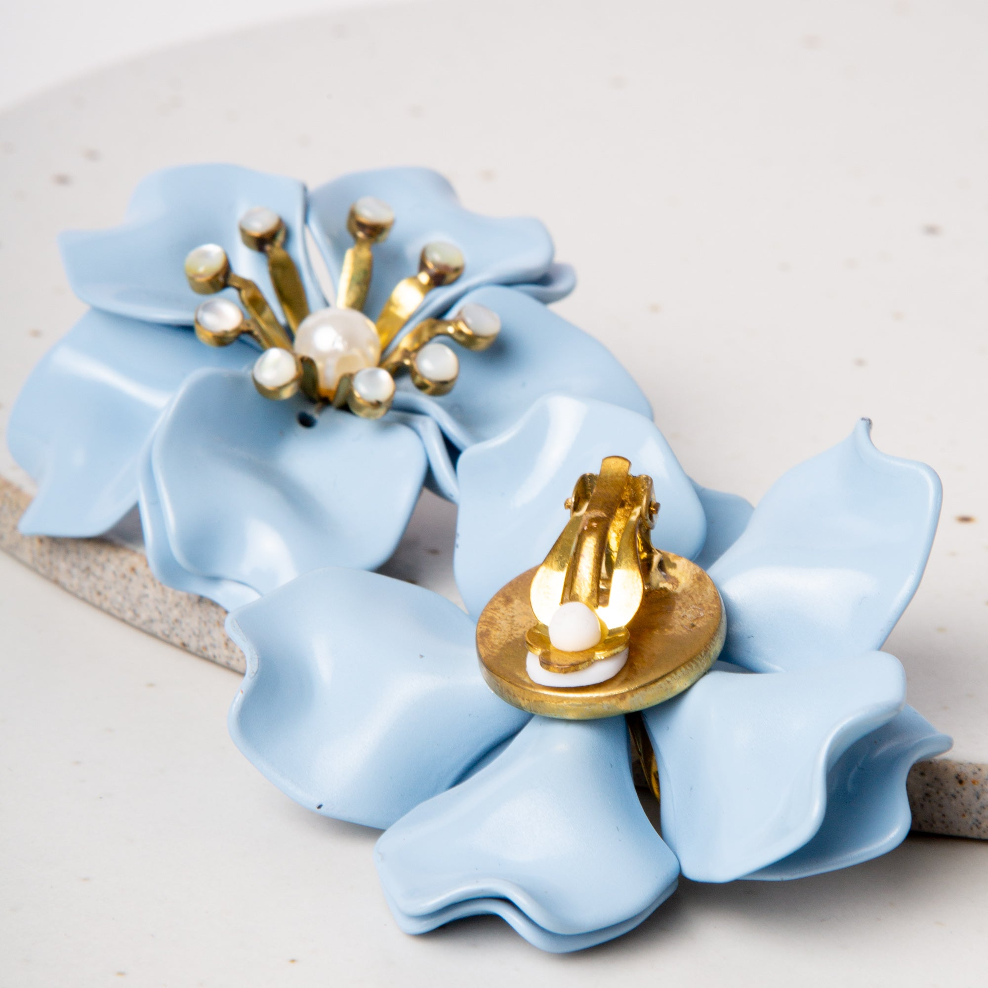 Fleur Anais Earrings / Powder  Blue