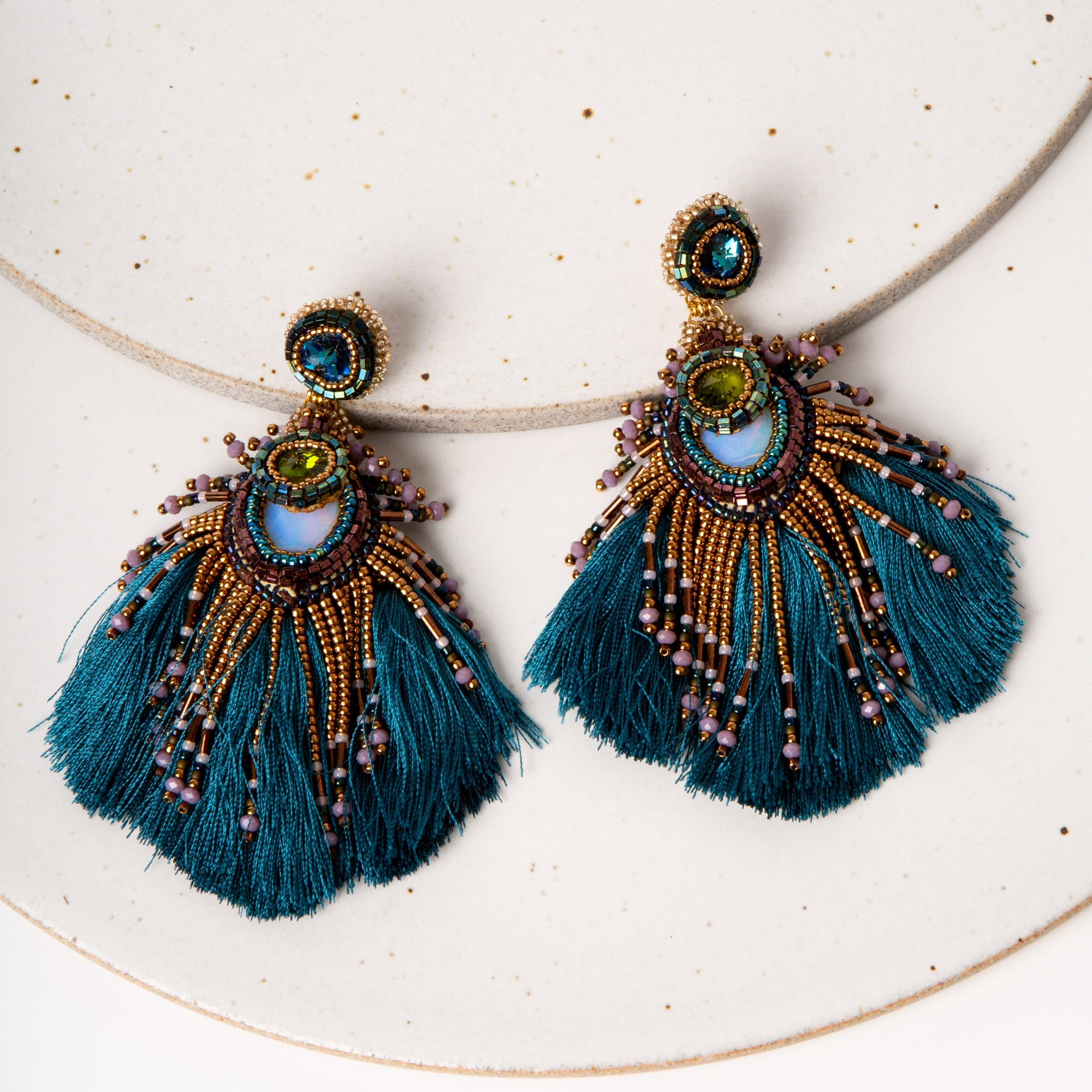 Plume Peacock Earrings / Blue